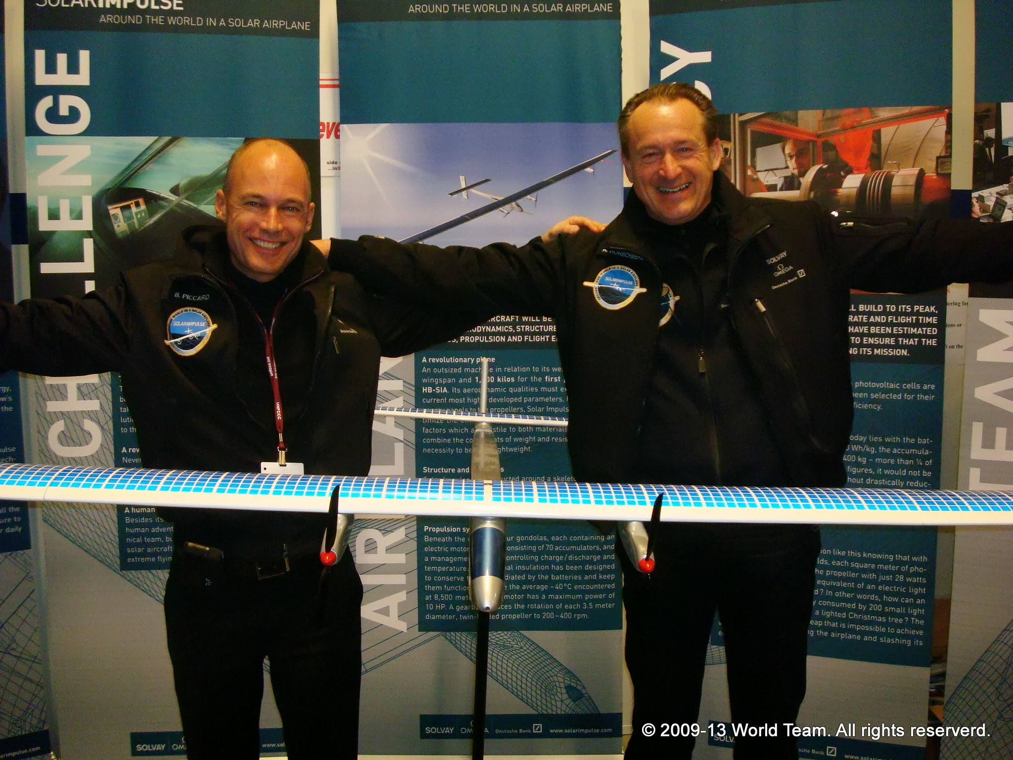 Bertrand Piccard and André' Roschberg of the SolarImpulse at The United Nation's Conference COP15 Copenhagen, Denmark 2009 when the SolarImpulse was a model and a dream.