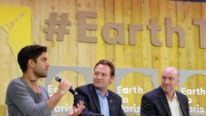 One of the more engaging conversations at the Earth to Paris Conference was with Andrian Grenler, Actor, Entrepreneur & Dell Social Good Advocate, Paul Bunje, Lead Energy and Environment XPrize , and John Wollard, VP of Energy Google